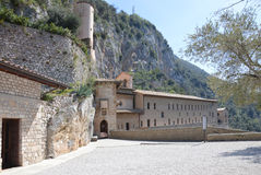 Monastero S. Benedetto in Subiaco, Italy. The imposing monastery is built directly into the mountains near Subiaco, Italy. Photo taken April 2015 Royalty Free Stock Photography