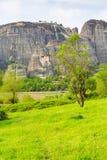 Monastero sull'alta scogliera, Grecia di Meteora Fotografia Stock Libera da Diritti