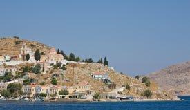 Monastero sull'isola di Symi fotografia stock libera da diritti