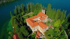 Monastero Visovac, colpo aereo Fotografie Stock