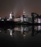 monasteru noc novodevichy widok zdjęcie stock