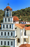 MONASTERY 2. The Greek Orthodox monastery in Mitilinii, Lesvos, which is being rebuilt or renovated.vivid summer colours Stock Image