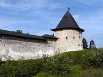 Monastery. Wall of the Pechorsky monastery. Russia, Pskov region Stock Photo