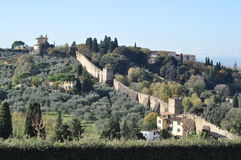 Monastery. A monestary in florence and the ancient wall that leads to it Royalty Free Stock Images