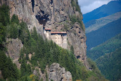 Monastery. Rocky mountains hosts this unique Monastery in northern region of Turkey near to Black Sea stock photo