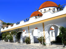 MONASTERY 8. The Greek Orthodox monastery in Mitilinii, Lesvos, which is being rebuilt or renovated.vivid summer colours Stock Photos