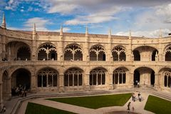 Monastery. Courtyard of the monastery in the district of Belem, Lisbon, Portugal Royalty Free Stock Image