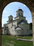 Monastery. Medieval christian orthodox monastery Mileseva, Serbia stock photo