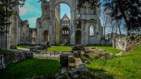 Monastery Abbaye de Jumièges / Jumièges Abbey in Normandy, France. Once considered one of the most beautiful monasteries in Europe, the Abbaye de Royalty Free Stock Image