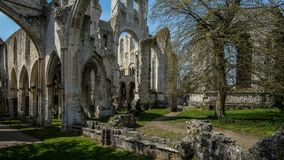 Monastery Abbaye de Jumièges / Jumièges Abbey in Normandy, France. Once considered one of the most beautiful monasteries in Europe, the Abbaye de Stock Photos
