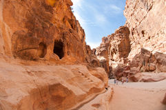 The Monastery Ad-Deir, ancient Nabataean city Petra, Jordan. Ancient temple in Petra Royalty Free Stock Photos