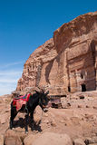 The Monastery Ad-Deir, ancient Nabataean city Petra, Jordan. Ancient temple in Petra. Originally known to the Nabataeans as Raqmu, is a historical and Stock Images