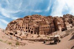 The Monastery Ad-Deir, ancient Nabataean city Petra, Jordan. Ancient temple in Petra Royalty Free Stock Photo