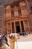 The Monastery Ad-Deir, ancient Nabataean city Petra, Jordan. Ancient temple in Petra. Originally known to the Nabataeans as Raqmu, is a historical and Royalty Free Stock Image