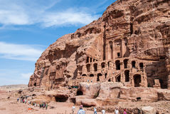 The Monastery Ad-Deir, ancient Nabataean city Petra, Jordan. Ancient temple in Petra. Originally known to the Nabataeans as Raqmu, is a historical and Royalty Free Stock Photos