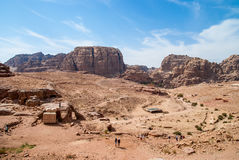 The Monastery Ad-Deir, ancient Nabataean city Petra, Jordan. Ancient temple in Petra. Originally known to the Nabataeans as Raqmu, is a historical and Royalty Free Stock Images