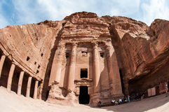 The Monastery Ad-Deir, ancient Nabataean city Petra, Jordan. Ancient temple in Petra. Originally known to the Nabataeans as Raqmu, is a historical and Stock Photo