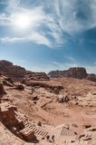 The Monastery Ad-Deir, ancient Nabataean city Petra, Jordan. Ancient temple in Petra. Originally known to the Nabataeans as Raqmu, is a historical and Royalty Free Stock Photo
