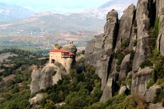 Monastery of Agios Nikolaos Anapafsas in Meteora Stock Image