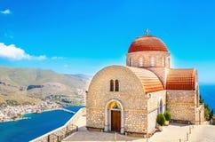 The Monastery of Agios Savvas in Kalymnos, Greece stock photo
