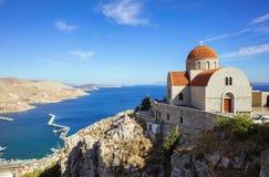 Monastery of Agios Savvas, Pothia, Kalymnos, Greece stock image
