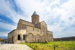 Monastery Alaverdi in Kakheti region, Georgia, on blue sky background stock image