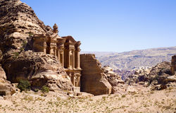 The Monastery in ancient city of Petra royalty free stock photos