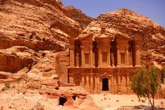 Monastery in Petra Jordan stock photography