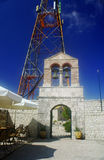 Monastery and the antenna on top of Pantokrator Royalty Free Stock Photo