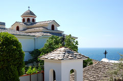 The Monastery of Archangel Michael. With a part of Holy Nail from the crucifixion of Jesus Christ, Thassos island, Greece Stock Photo