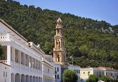 Monastery of Archangel Michael Panormitis on Symi island. Greece Stock Images