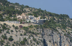 Monastery Archangelos on the cliff, island Thassos, Greece, Europe. Coast of Aegean island Thassos, Greece with Archangel Michael's Monastery Stock Photography
