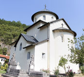 Monastery on the banks of the River Moraca Royalty Free Stock Photo