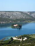 Monastery in beatiful Krka river in Croatia. During summer Stock Photo