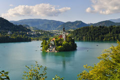 Monastery on Bled lake. Bled lake with old monastery on the island – one of the most beautiful touristic places in Slovenia Stock Image