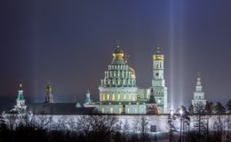 Monastery, cathedral, dome, tower, wall, gold, evening, history, shrine royalty free stock images