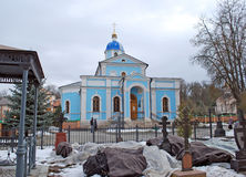 The monastery cemetery near the temple. Optina Pustyn. Kozelsk. Russia. The monastery cemetery near the temple. Optina Pustyn. Kozelsk. Kaluga region. Russia Stock Photography