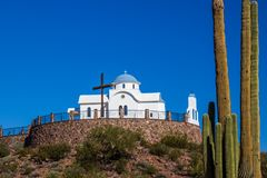 Monastery Chapel On Hill In Desert. Monastery Chapel With Cross And Dome On Hill In Arizona Desert royalty free stock photography