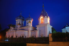 Monastery, Chisinau, Moldova. The night view of the monastery in Kishinev, capital city of the Moldovan Republic Royalty Free Stock Images
