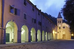 Monastery and church at dawn, Italy Royalty Free Stock Photos