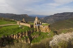 Armenian Apostolic church and monastery of Tatev in the province of Syunik of Armenia. Monastery and Church of Tatev near the city of Goris in Armenia royalty free stock photography