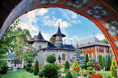 Orthodox church - Monastery Bujoreni - landmark attraction in Vaslui County, Romania. Orthodox church - Monastery complex Bujoreni seen through the entrance royalty free stock photo
