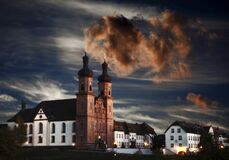 Monastery complex in St. Peter at sunset. St. Peter  Black Forest  Baden-Wuerttemberg  Germany