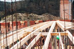 Monastery construction site, architecture arch dome wooden frame. Details of monastery construction site, architecture arch dome wooden frame Stock Image