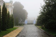 The monastery courtyard. A foggy day, empty, lonely, quiet Stock Photography