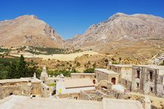 Monastery on Crete. View of the ruins of the monastery on Crete Royalty Free Stock Photos