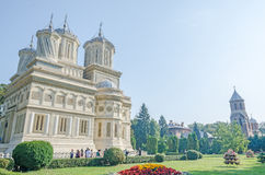 The monastery Curtea de Arges, orthodox church, outdoor courtyard. Royalty Free Stock Photo