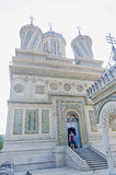 The monastery Curtea de Arges, orthodox church, outdoor courtyard. Stock Photos