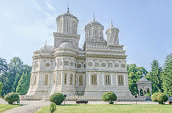 The monastery Curtea de Arges, orthodox church, outdoor courtyard. Stock Photo