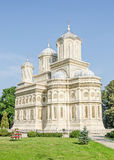 The monastery Curtea de Arges, orthodox church, outdoor courtyard. Stock Images